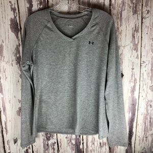 Under Armour Gray Long Sleeve V Neck Top Large